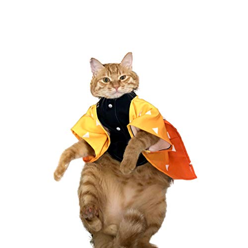 JSVDE Cartoon Anime Kimetsu no Yaiba Pet Cartoon Costume Cosplay for Cat & Small Dog (Zenitsu Agatsuma)