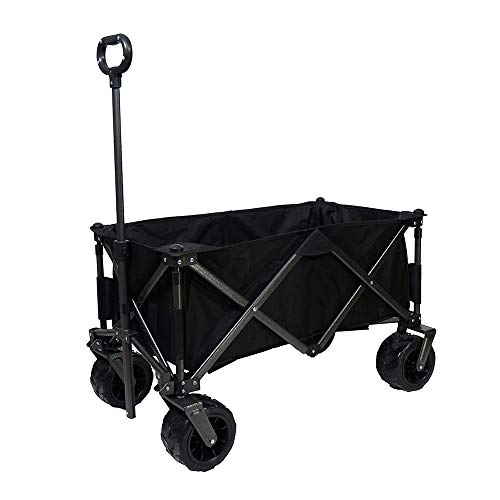 KPO Collapsible Folding Garden Cart Heavy Duty Utility Wagon for Shopping/Camping/Garden/Beach/Out Door - Black