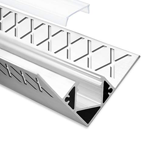 LED Aluminium Fliesenprofil Inneneck F8 Hamal 2 Meter inkl. Abdeckung Opal (milchige Abdeckung) LED Fliesenprofil 2m LED Alu Profil Fliesen