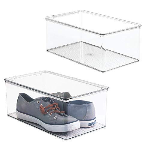 mDesign Juego de 2 cajas para zapatos apilables con tapadera – Práctica caja de zapatos de plástico – Organizador de zapatos ideal para sandalias, zapatillas de deporte, etc. – transparente
