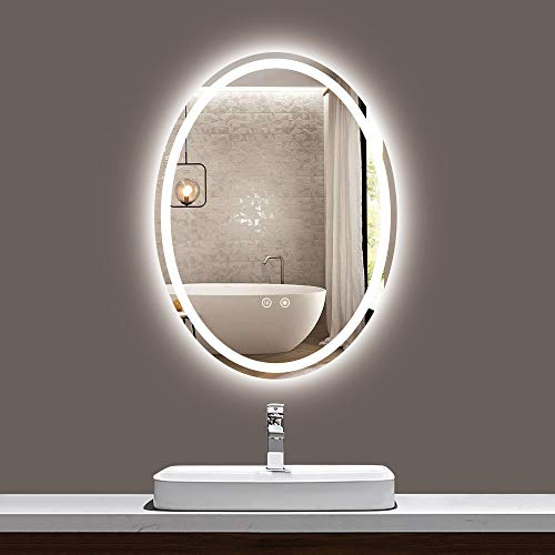 TokeShimi Oval LED Bathroom Mirror 24 x 32 Inch Lighted Makeup Mirror AntiFog Vanity Mirror Dimmable Wall Mounted Bath Mirror with Lights