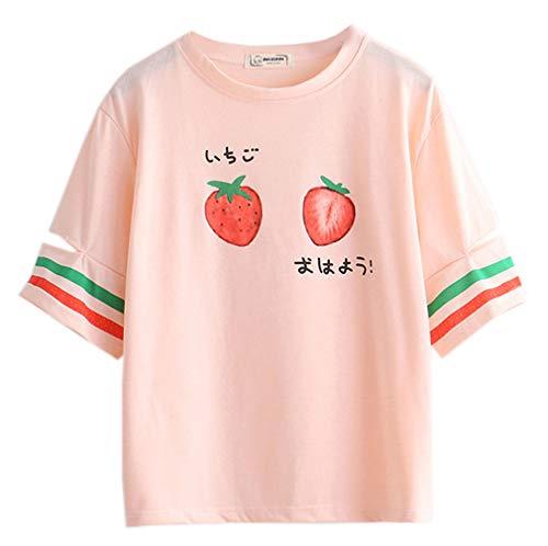 Namnoi Clothing Store Women's Summer Kawaii Strawberry Print Short Sleeve Girl T-Shirt (Pink)