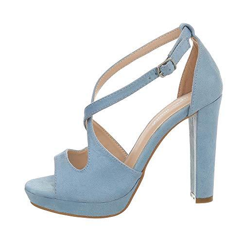 Ital-Design Damenschuhe Sandalen & Sandaletten High Heel Sandaletten Synthetik Hellblau Gr. 37