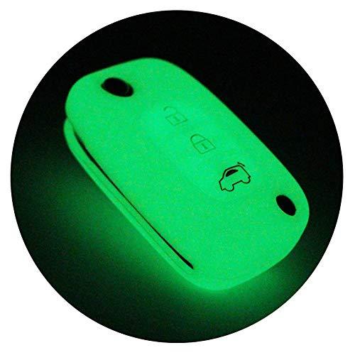 Finest-Folia - Coque en silicone pour clé de voiture à 3 boutons (phosphorescent)