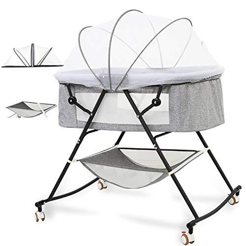 YFASD Portable Faltbare Baby Babybett Beistellbett Herausnehmbares Einfache Reinigung Atmungsaktives Mesh Auf Beiden Seiten Atmungsaktiv Und Komfortabel Vier Räder Mit Geräuschlosem Rad,Gray