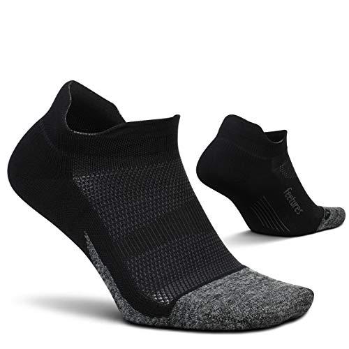 Feetures - Elite Light Cushion - No Show Tab - Calcetines deportivos para correr para hombres y mujeres - Negro - Talla Grande