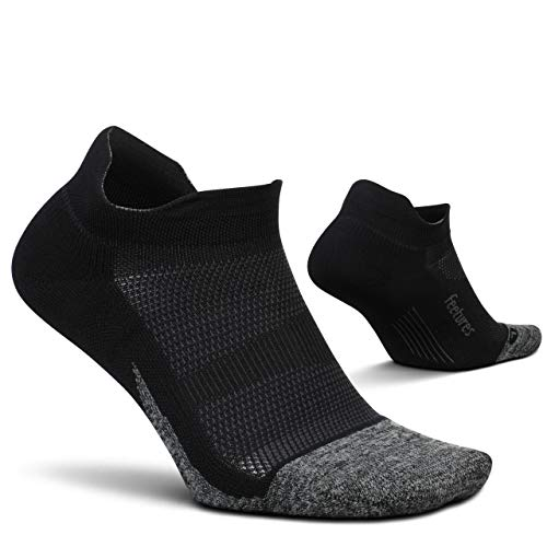 Feetures - Elite Light Cushion - No Show Tab - Athletic Running Socks for Men and Women - Black - Size Large