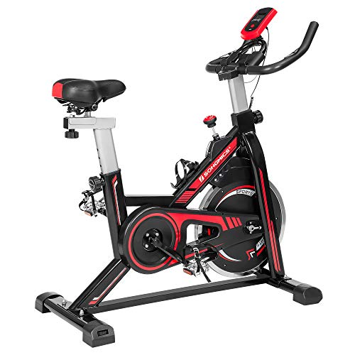 SONGMICS Exercise Bike, Indoor Cycling Bike for Home Fitness and Exercise, with Adjustable Handlebar, Seat, and Resistance, Pulse Sensor, Caged Pedals, Black and Red SEB617R01