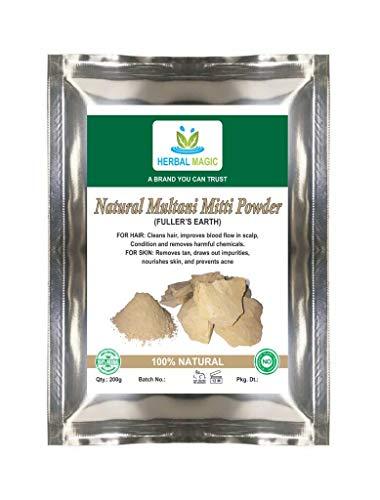 Free delivery - Herbal magic's 100% Pure & Natural 100g Organic fullers Earth (multani mitti - mud from Multan) Powder – exfoliate Scrub Dark Circles Oily Skin face Pack