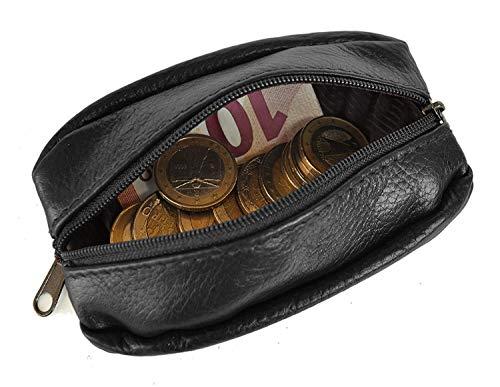 LIVAN - Porte-Monnaie Homme Portefeuille - Grain de café - Cuir Vachette épais résistant - pour Poches Pantalon ou Veste (Noir)