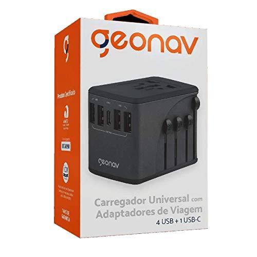 Carregador Universal com Adaptadores de Viagem, 4 Portas USB + 1 USB-C, Preto, TLCH65BK, Geonav