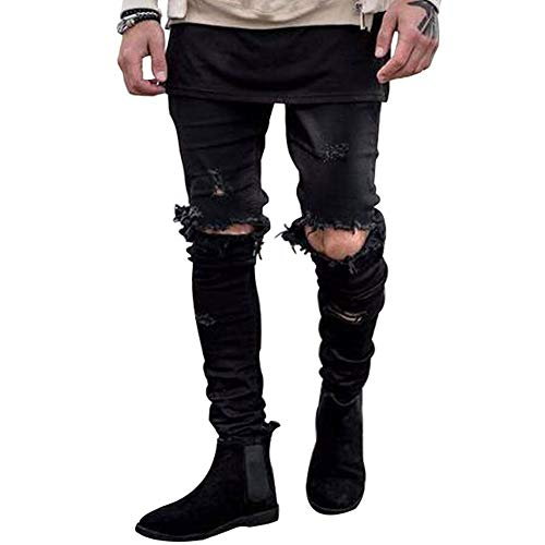 HUNGSON Men's Stretchy Ripped Skinny Biker Jeans Taped Slim Fit Denim Pants