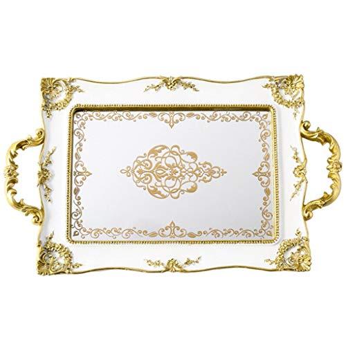 Zunruishop - Vassoio per pasticceria a specchio, stile retrò, per cosmetici, gioielli, decorazione da tè, 41 x 25 cm