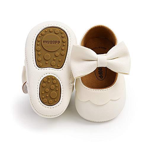 Infant Baby Girl White Shoes Soft Anti-Slip Sole Mary Jane Shoes Toddler Girls Walking Shoes Wedding Dress Shoes