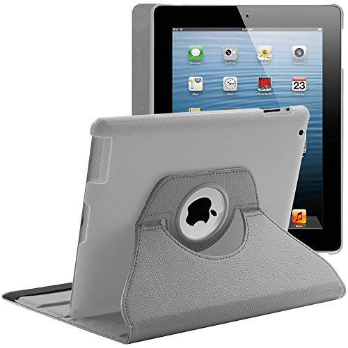 ebestStar - kompatibel mit iPad 4 Hülle Retina, iPad 3, iPad 2 Rotierend Schutzhülle Etui, Schutz Hülle Ständer, Rotating Hülle Cover Stand, Grau [iPad: 241.2 x 185.7 x 9.4mm, 9.7'']