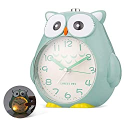 SkyNature Kids Alarm Clock, Owl Decorative Dual Alarm with Night Light and Snooze, Silent Non-Ticking Battery Operated Clock for Girls & Boys, Students Bedroom, Easy to Set - Green