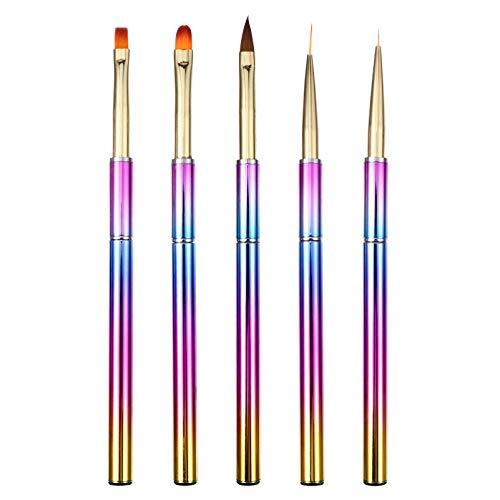 FRCOLOR 5 Piezas de Pinceles para Decoración de Uñas Brochas para Pinceles Punteados Herramientas para Dibujar para Diseños de Arte de Uñas DIY