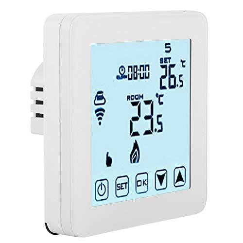Atyhao Termostato Inteligente, termostato de calefacción programable WiFi Inteligente, Controlador de Temperatura inalámbrico LCD Digital, termorregulador
