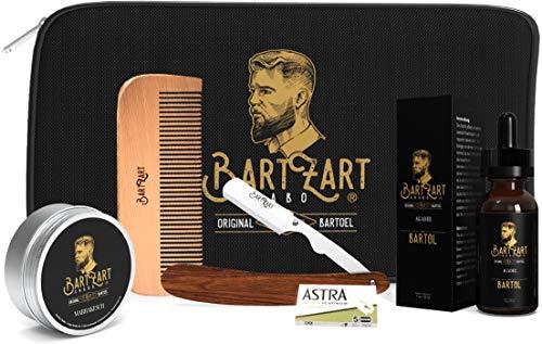 BartZart Baardverzorgingsset met scheermes, hoogwaardige baardolie, natuurlijke baardwas, baardkam van hout, muskusgeur