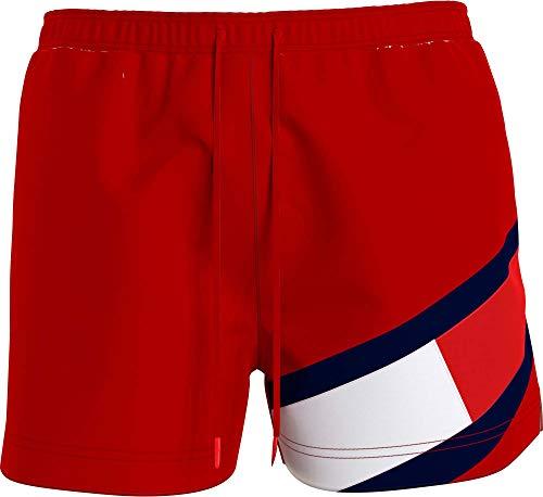 Tommy Hilfiger Colour-Blocked Slim Fit Mid Length Swim Shorts Bañador, Rojo (Primary Red), L para Hombre