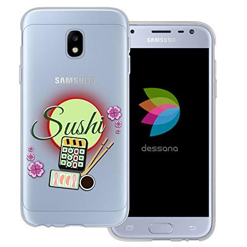 dessana Comic Asia durchsichtige Schutzhülle Handy Case Cover Tasche für Samsung Galaxy J3 (2017) Sushi Bento