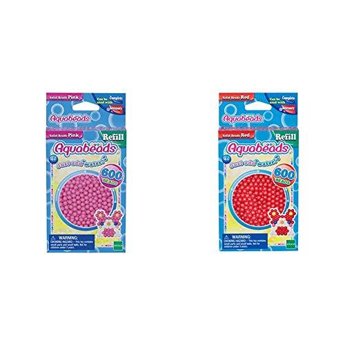Aquabeads 32588 Perlen Bastelperlen nachfüllen pink & 32508 Perlen rot