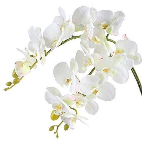 Famibay Kunstblume Orchideenzweig Phalenopsis Orchidee Künstlich Weiß Orchidee Blumen Real Touch
