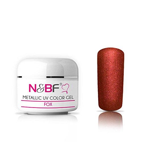 N&BF Metallic UV Gel 5ml | Fox (Rot/Braun) | Colorgel metallisch | Metall Effekt-Gel mittelviskos | Made in EU | Nagelgel Metal-Look | Farbgel ohne Säure + selbstglättend für Nail Art