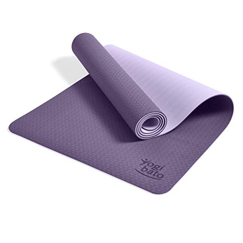 Yogibato Yogamatte TPE – rutschfeste Gymnastikmatte Sportmatte – Matte mit Tragegurt für Gymnastik Pilates Sport & Fitness – Non-Slip Yoga Mat [183x61x0,6 cm] Lavendel-Flieder