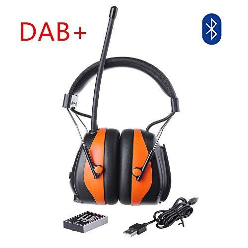 PROTEAR DAB Gehörschutz mit Bluetooth&FM Radio, Wiederaufladbare Ohrenschützer Eingebautem Mikrofon für Industrie,BAU und Mähen Lärmreduzierung SNR 30dB