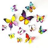 tuparka 36 pezzi adesivi murali farfalla 3d farfalle murali decorazioni da giardino accessori camera da letto per ragazze (arcobaleno)