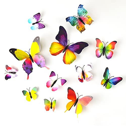 TUPARKA 36 Piezas 3D Mariposas Pegatinas de Pared Mariposas de Pared Decoraciones de Jardín Accesorios de Dormitorio para Niñas (Arco Iris)