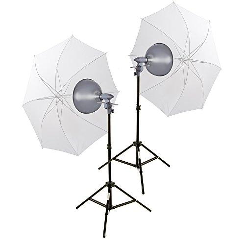 Interfit INT160 2 hoofdsets + 2 x reflectoren + 2 x 500W wolfraamlampen + 2 poten + 2 x doorschijnende paraplu's