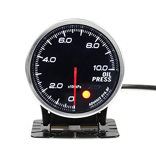 no-branded Kraftstoffanzeige 60MM Ölkraftstoff Manometer Meter mit 7 Farben-Hintergrundbeleuchtung einstellbar 0~10 Bar Fit 12V Fahrzeuge mit Sensor CGFEUR