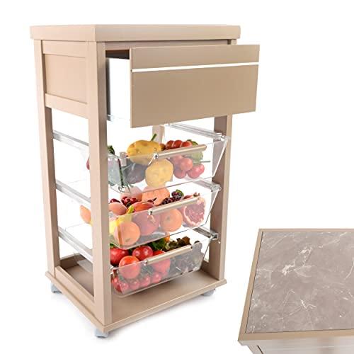 Kasalingo Carrello Porta Frutta e Verdura Prestige con portapane 40x47 h 88 cm in Legno, carrello da cucina con ripiano multiuso 100% Made in Italy. (Tortora)