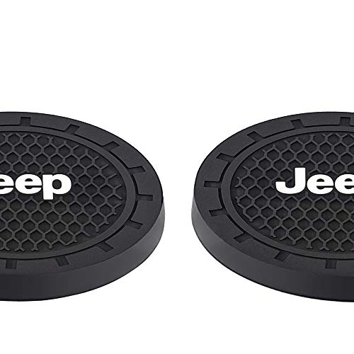 fit Jeep Accessories Coaster Car Interior Accessories Cup Holder,Anti Slip Cup Mat Insert for Jeep Grand Cherokee, Wrangler, Compass, Patriot 2 Packs,2.75 inch