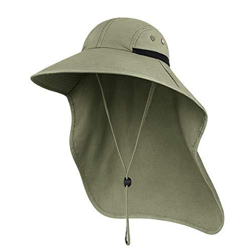 Sombreros para el Sol Hombre, Gorra Transpirable ala Ancha protección UV Protege Cuello Cara, Sombrero Jardin Hombre Adecuado para Trekking (Verde Oliva)