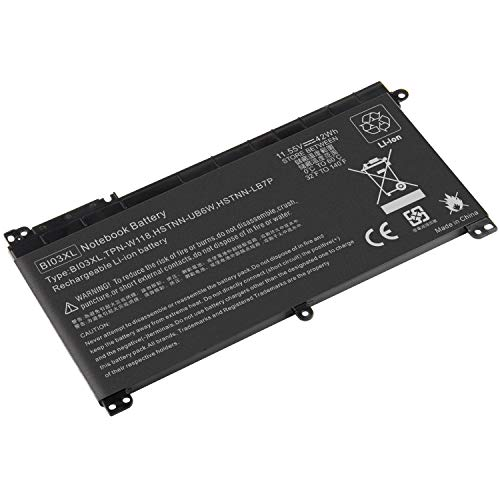 ARyee BI03XL Battery Compatible with HP Pavilion X360 13-u000 m3-u000 13-u000 Stream 14-ax000 Series 0N03XL BI03XL HSTNN-UB6W TPN-W118(42Wh 11.55V)