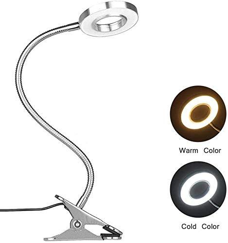 7W LED Clip op leeslamp boek Light Table Lamp Lamp Eye-Care Lamp, Warm & Cool lichte kleur,Silver