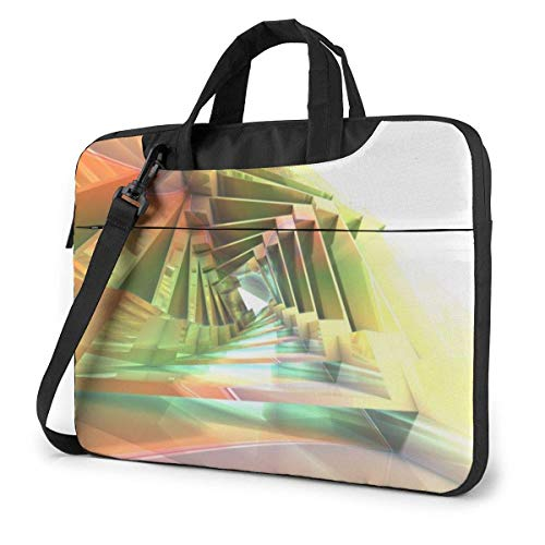 Laptop Shoulder Bag Carrying Laptop Case 14 Inch, 3D Fractal Art Computer Sleeve Cover with Handle, Busin Briefcase Protective Bag