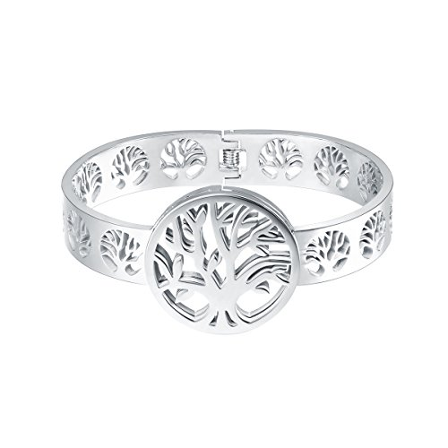 FOCALOOK Bangle Bracelet for Women Stainless Steel Silver Color Oval Cuff Wrist Band Jewelry for Birthday, Tree of Life Bracelet