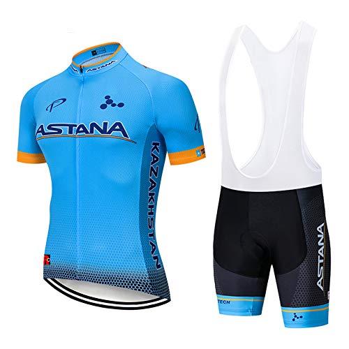 WOLFIRE WF Traje de Ciclismo para Hombre de Equipos. Culotte y Maillot. con 5D Gel Pad. para MTB, Spinning, Bicicleta de Carretera (AST Celeste, L)