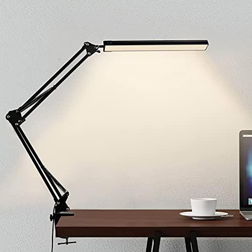 Lámpara de Escritorio LED,12W Lámpara de Mesa Abrazadera Brazo Oscilante Luz Regulable con 3 Modos de Color + 10 Niveles de Brillo, Adecuado Para Oficina/Lectura/ Estudios