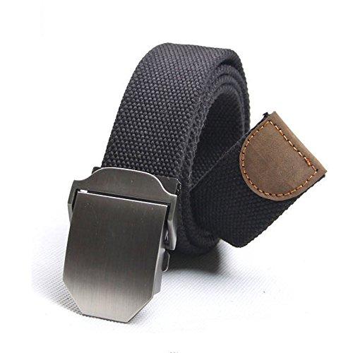 Fenrad Nero 125CM Regolabile Cintura da uomo in Tessuto Tela Militare Waistband Cinturino Adjustable Waist Belt con Slider Fibbia--Black