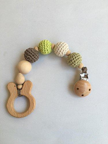 Juguete de dentición de madera Natu Verde hecho a mano. Un regalo original y práctico para el bebé.