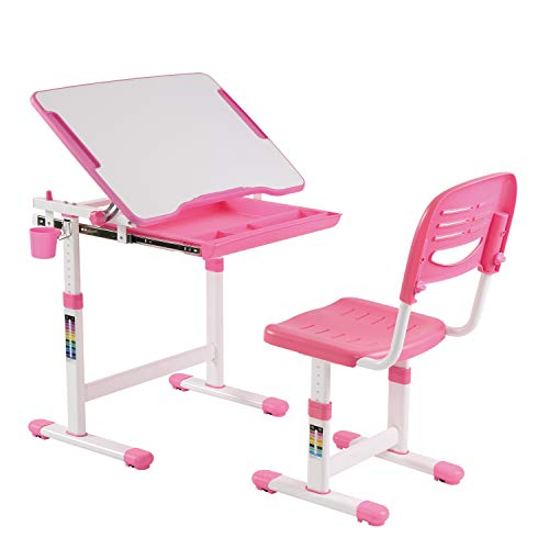 KIDOMATE Kids Height Adjustable Study Table with Auto Height Lock and Tiltable Desk, 3-14 Years (Pink) (Desk Size: 664x474mm)