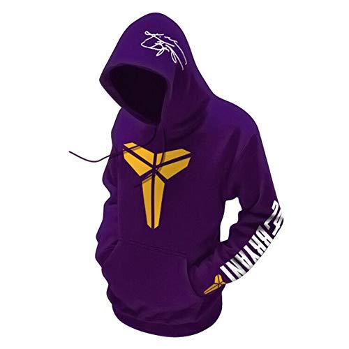 XGMJ Kobe Bryant - Sudadera de baloncesto para hombre, diseño de Lakers Black Mamba Jersey con capucha, suelta, unisex, color morado