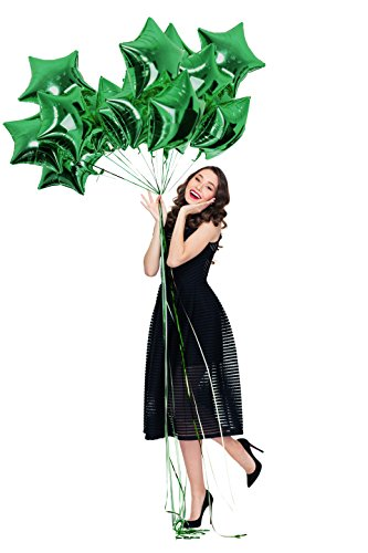 Treasures Gifted Foil Mylar Green Star Balloons 18 Inch Metallic 12 Pack for Birthday Baby Shower St. Patrick's Party Supplies Mardi Gras Party Decorations