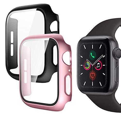 Protector Pantalla Apple Watch 40mm, 2 Piezas Funda Apple Watch Serie 6/SE/Series 5/Serie 4 con Protector de Pantalla Cristal Templado, HD Protección Completa Carcasa para iWatch (Oro Rosa + Negro)