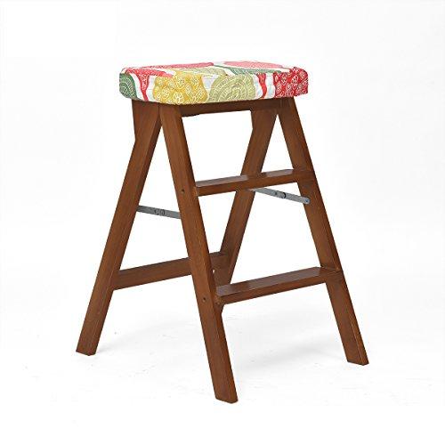 FEIFEI Tabouret en bois massif + tissu moderne pratique chaise pliante multifonctionnelle maison pratique (Couleur : 06, taille : B)